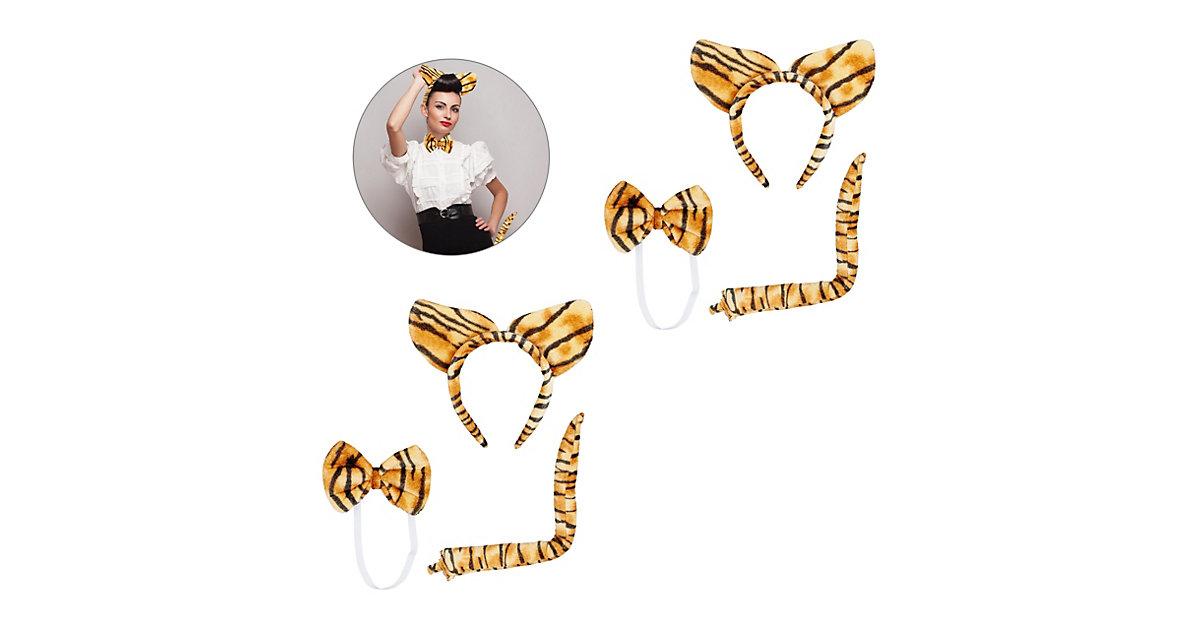 2 x Tigerohren Set Plüschohren Tigerohren Haarreif Kostüm Fliege Tigerschwanz braun-kombi