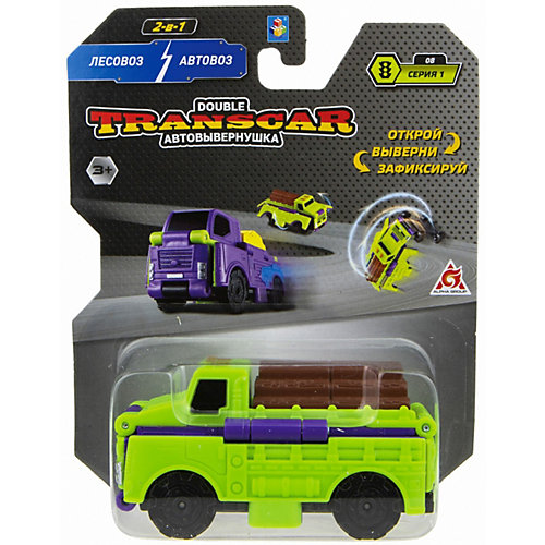 Машинка-трансформер 1Toy Transcar Double Лесовоз/автовоз, 8 см от 1Toy