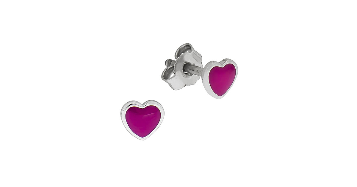 for Kids Ohrstecker 925/- Sterling Silber Herz Lack rosa Ohrstecker Kinder rot  Kinder
