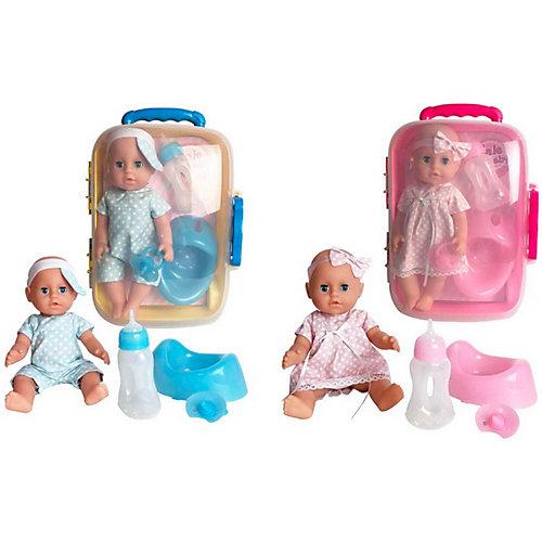 Кукла-пупс ABtoys в чемоданчике, 25 см, в одежде в горошек от ABtoys