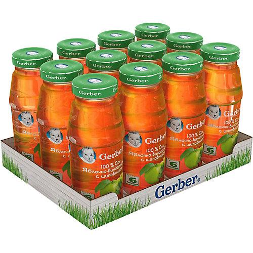 Сок Gerber яблочно-виноградный с шиповником с 6 мес, 12 шт х 175 мл/уп от Gerber