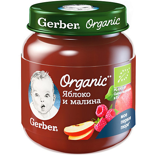 Пюре Gerber Organic яблоко, малина с 5 мес, 12 шт х 125 г/уп от Gerber