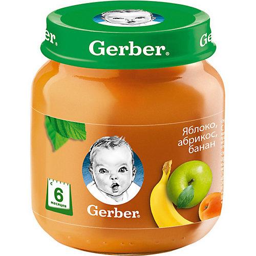 Пюре Gerber яблоко, абрикос, банан с 6 мес, 12 шт х 130 г/уп от Gerber