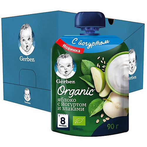 Пюре Gerber Organic яблоко с йогуртом, злаками с 8 мес, 16 шт х 90 г/уп от Gerber
