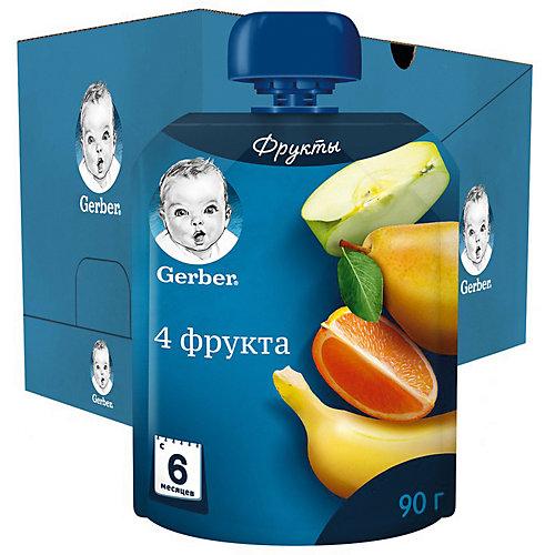 Пюре Gerber 4 фрукта с 6 мес, 7 шт х 90 г/уп от Gerber