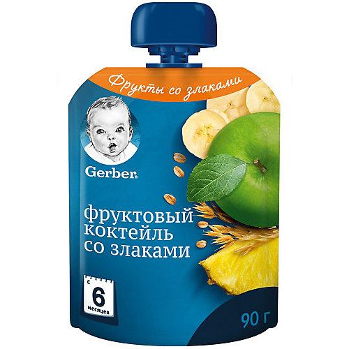 Пюре Gerber фруктовый коктейль со злаками с 6 мес, 16 шт х 90 г/уп от Gerber
