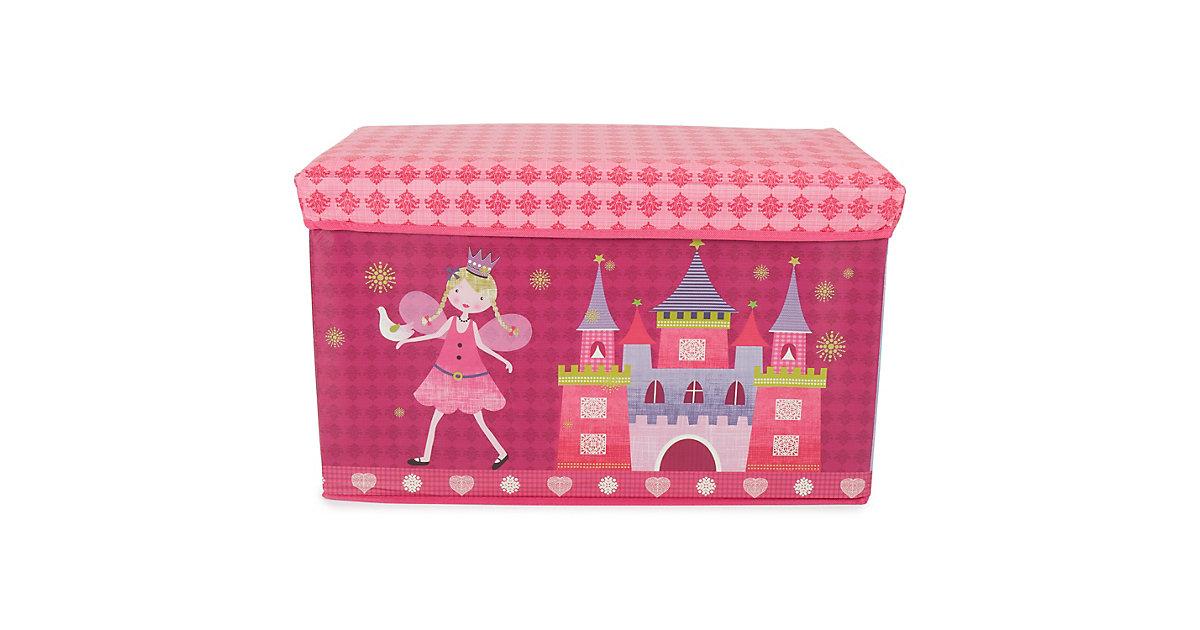 Image of Aufbewahrungsbox mit Deckel faltbar Sitzhocker und Polsterung Spielzeugkiste 66L rosa