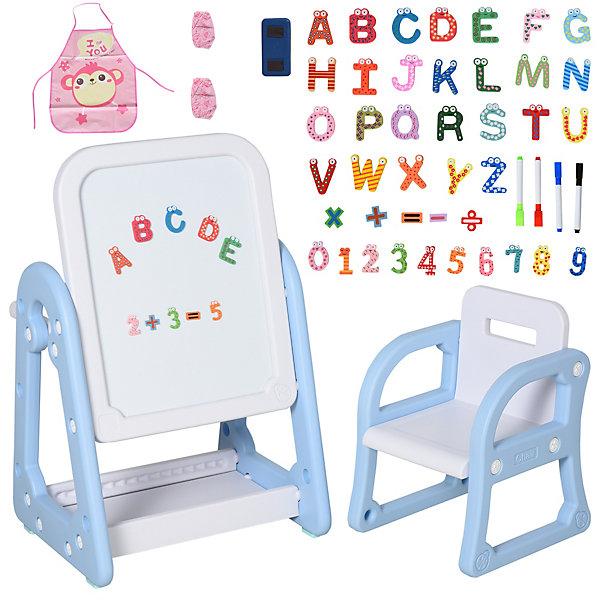 Artikel klicken und genauer betrachten! - Die 2-teilige HOMCOM-Multifunktions-Staffelei ist das perfekte Spielzeug, um Kindern zu helfen, ihr Interesse am Lernen und Zeichnen zu wecken und den Prozess angenehm und lehrreich zu gestalten. Diese doppelseitige Staffelei ist mit einer magnetischen Trockenlöschtafel und einem robusten Schreibtisch ausgestattet. Der Stuhl mit Sicherheitsarmlehne und -rückenlehne bietet Ihrem Kind zusätzliche Sicherheit.   im Online Shop kaufen