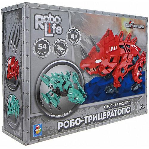 """Сборная модель 1Toy RoboLife """"Робо-трицератопс"""" , 54 деталей  движение, звук эффекты ,  работает от 2 АА бат (в ко от 1Toy"""