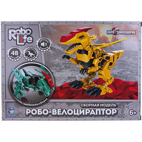 """Сборная модель 1Toy RoboLife """"Робо-велоцираптор с крыльями"""", 48 деталей  движение, звук эффекты ,  работает от 2 АА бат ( от 1Toy"""