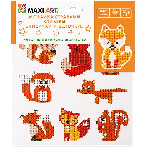 Мозаика стразами Maxi Art Лисички и белочки, 8 стикеров, 20х20 см от Maxi Art