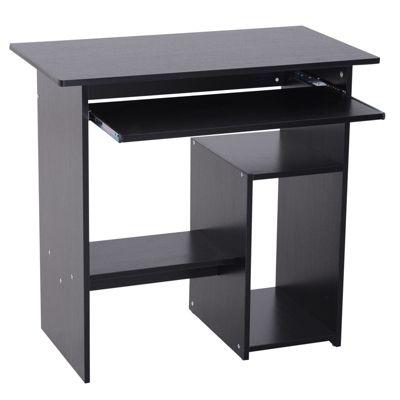 Computertisch mit ausziehbarer Tastaturplatte schwarz