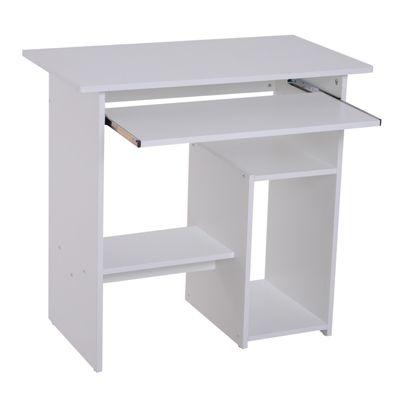 Computertisch mit ausziehbarer Tastaturplatte weiß