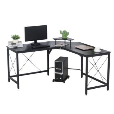 Computertisch in L-Form schwarz