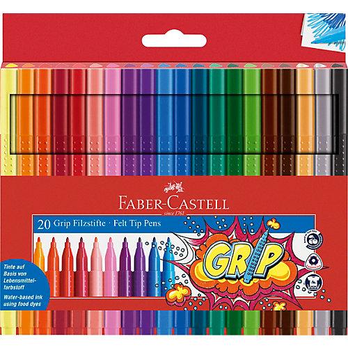 Фломастеры Faber-Castell Grip, 20 цветов, смываемые от Faber-Castell