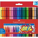 Фломастеры Faber-Castell Grip, 20 цветов, смываемые