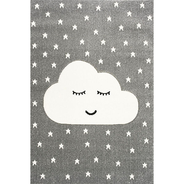 Kinderteppich, SMILEY CLOUD silbergrau/weiss, 100 x 150 cm