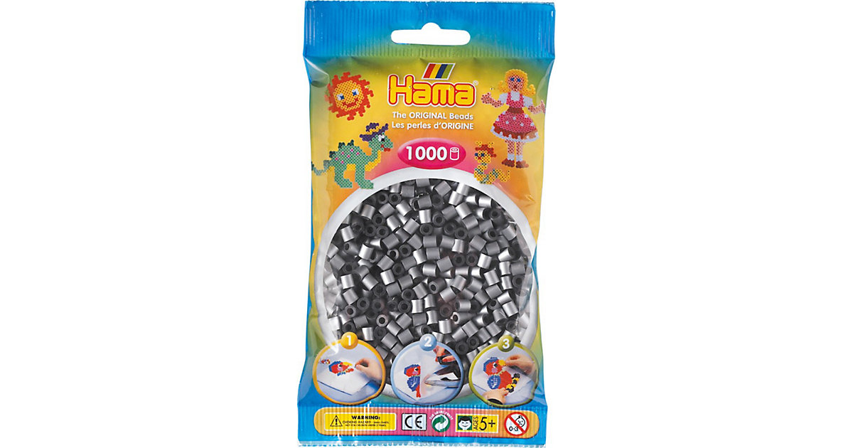 HAMA 207-62 midi-Perlen, 1.000 Stück, Silber