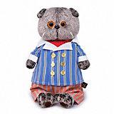 Мягкая игрушка Budi Basa Кот Басик в полосатом костюме, 19 см