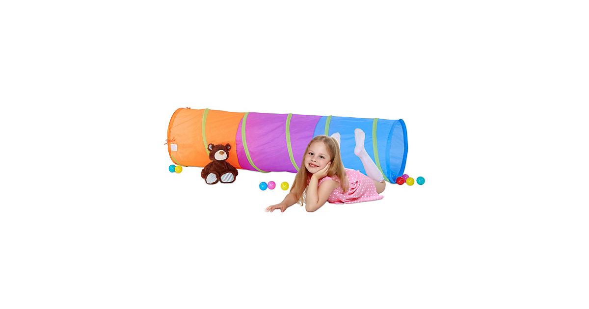 Farbenfroher Spieltunnel Kinder orange  Kleinkinder
