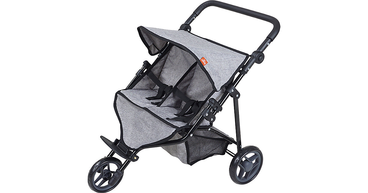 Zwillingspuppenwagen Duo - jeans grey anthrazit