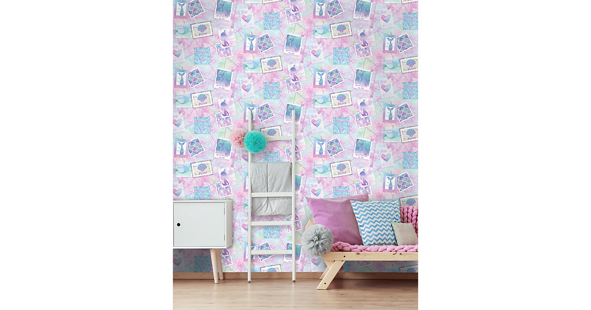 Papiertapete Be More Mermaid Multi, 10 m x 53 cm bunt