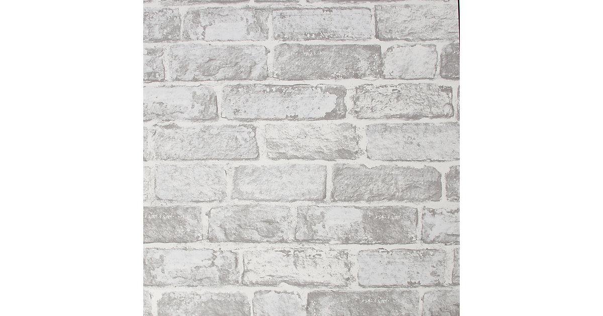 Papiertapete White Brick Wall, 10 m x 53 cm weiß