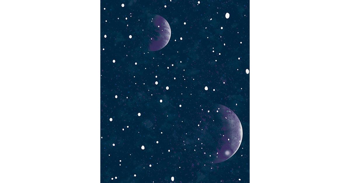 Papiertapete Planetarium Blue - Glow In The Dark, 10 m x 53 cm blau
