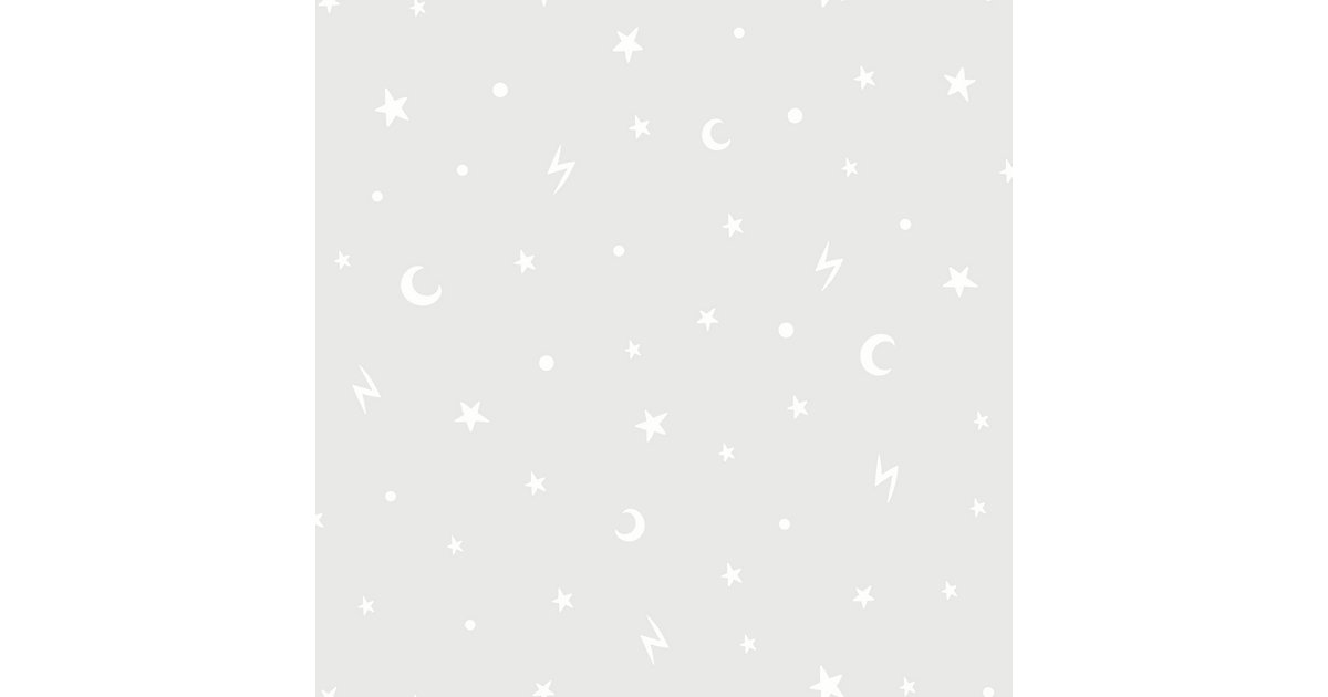 Papiertapete Stars and Moons Grey (Glow in the Dark), 10 m x 53 cm grau