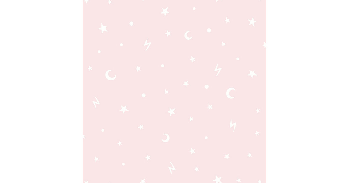 Papiertapete Stars and Moons Pink  , 10 m x 53 cm pink