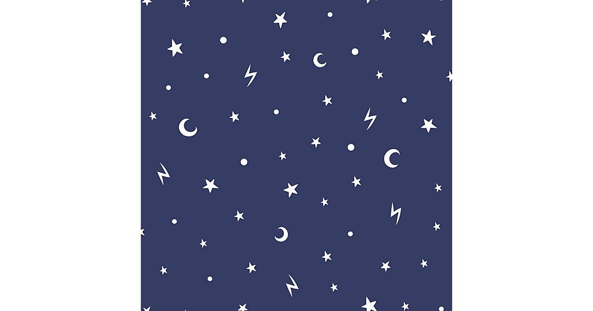 Papiertapete Stars and Moons Navy  (Glow in the Dark), 10 m x 53 cm dunkelblau