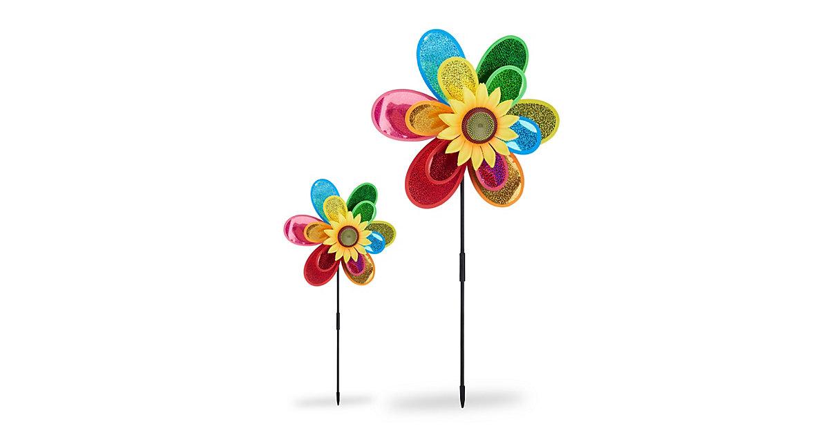 2x Windrad Gartendeko bunt Gartenstecker Windmühle Blume Windspiel Taubenschreck mehrfarbig