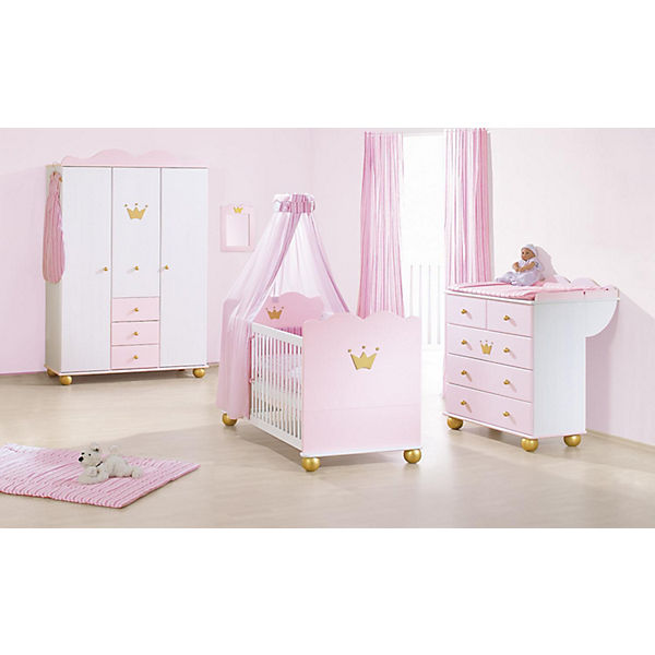 komplett kinderzimmer prinzessin karolin 3 tlg kinderbett wickelkommode und 3 t riger. Black Bedroom Furniture Sets. Home Design Ideas