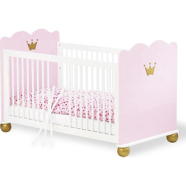 Prinzessin Babyzimmer kinderbett prinzessin karolin fichte massiv weiß rosa lasiert 70 x