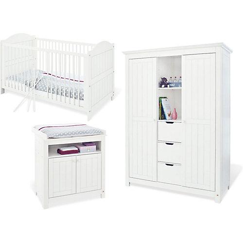 Pinolino Komplett Kinderzimmer NINA, 3-tlg. (Kinderbett, Wickelkommode und großer 2-türiger Kleiderschrank mit Mittelregal), massiv/Weiß lasiert Gr. 70 x 140 Sale Angebote Sargstedt