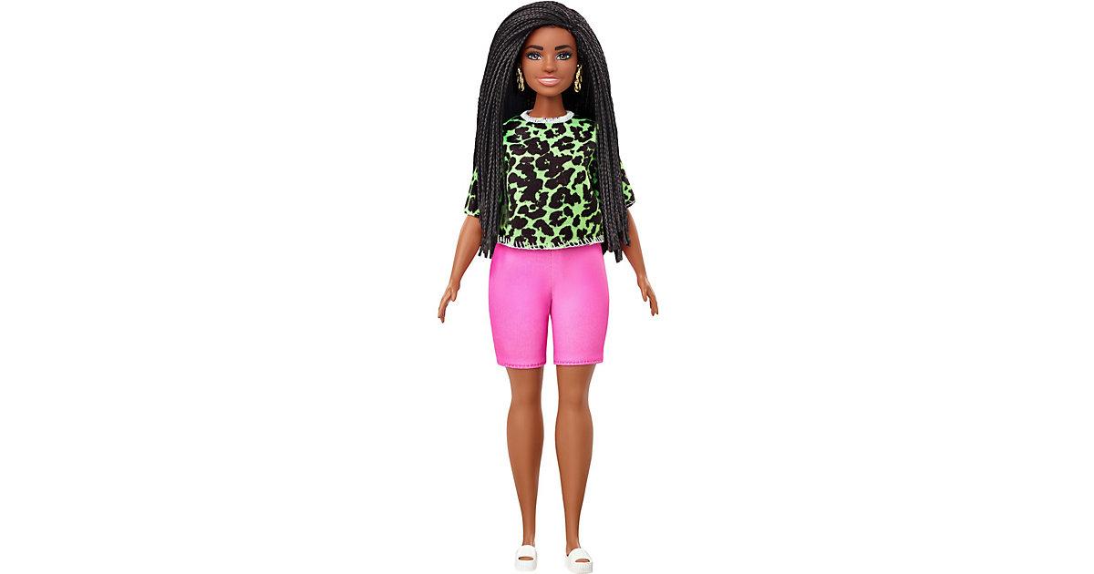 Barbie Fashionistas Puppe im Neon leoparden Shirt und Biker Hose