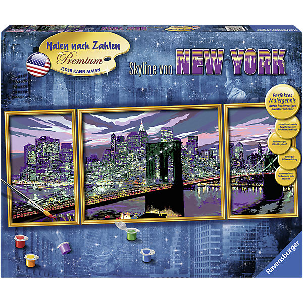 Malen Nach Zahlen Premium Triptychon 100x40 Cm Mit Bilderfirnis Skyline Von New York Ravensburger