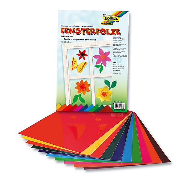 Fensterfolie Kinderzimmer | Fensterfolien 10 Bogen Farbig Sortiert Folia Mytoys