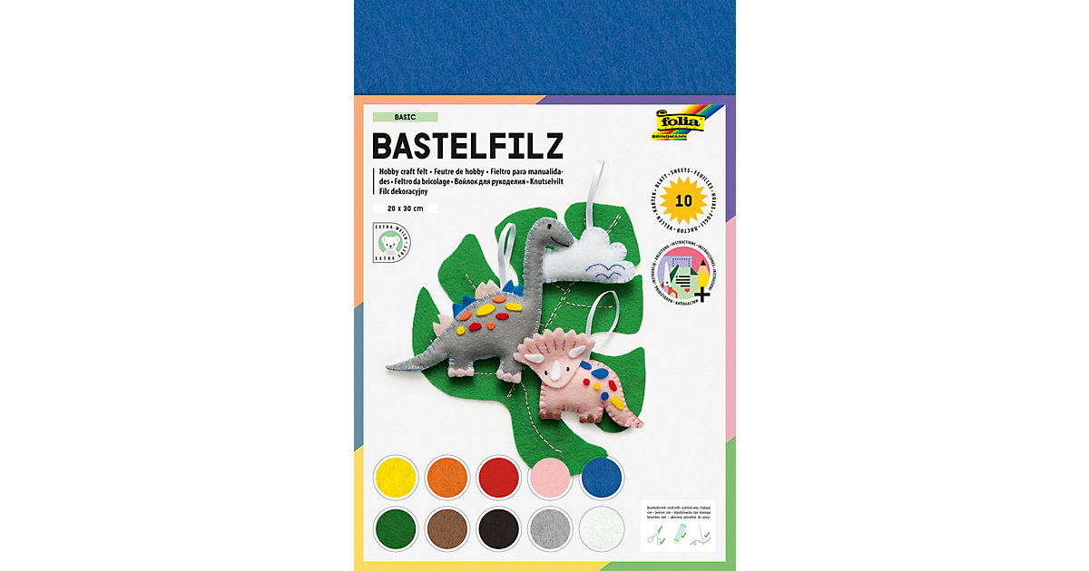 Bastelfilz, 10 Blatt farbig sortiert