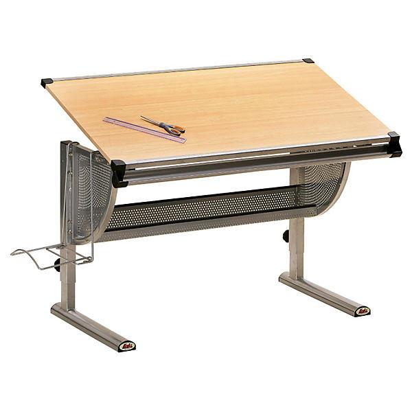 Schreibtisch thore h henverstellbar metall ahorn dekor for Schreibtisch ahorn