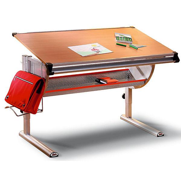 Schreibtisch Thore Höhenverstellbar Metallbuche Optik Mytoys
