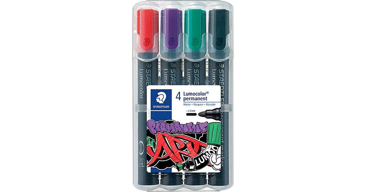 Lumocolor Marker permanent ART BOX Rundspitze, 4 Farben in Aufstellköcher