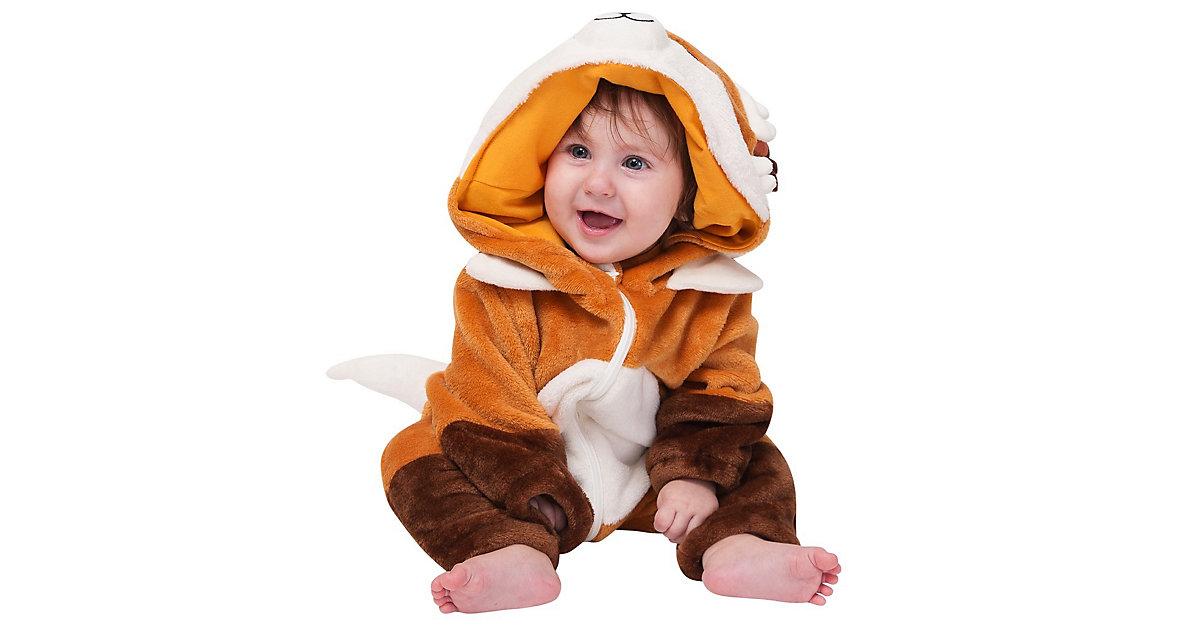 Baby Strampler Kostüm (Einhorn, Drache, Fuchs, Panda, Dino, Pinguin, und mehr) Kinderkostüme orange Gr. 62/68