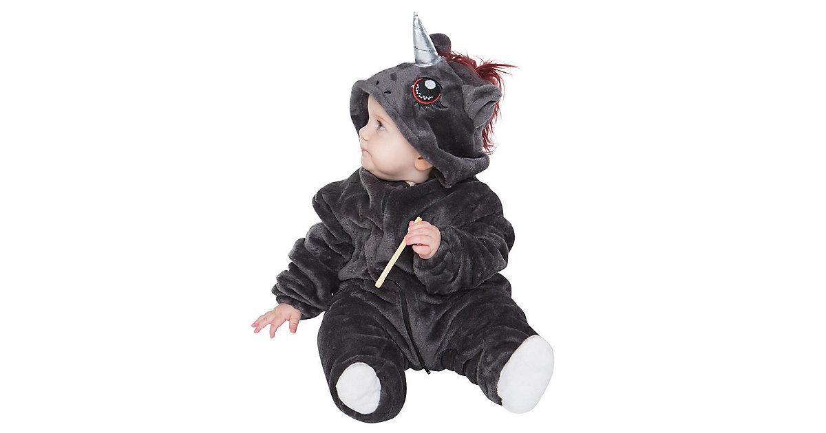 Baby Strampler Kostüm (Einhorn, Drache, Fuchs, Panda, Dino, Pinguin, und mehr) Kinderkostüme anthrazit/lila Gr. 62/68