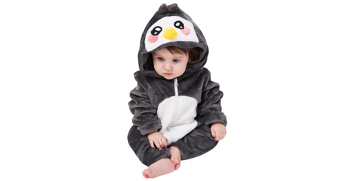 Baby Strampler Kostüm (Einhorn, Drache, Fuchs, Panda, Dino, Pinguin, und mehr) Kinderkostüme schwarz Gr. 80/86