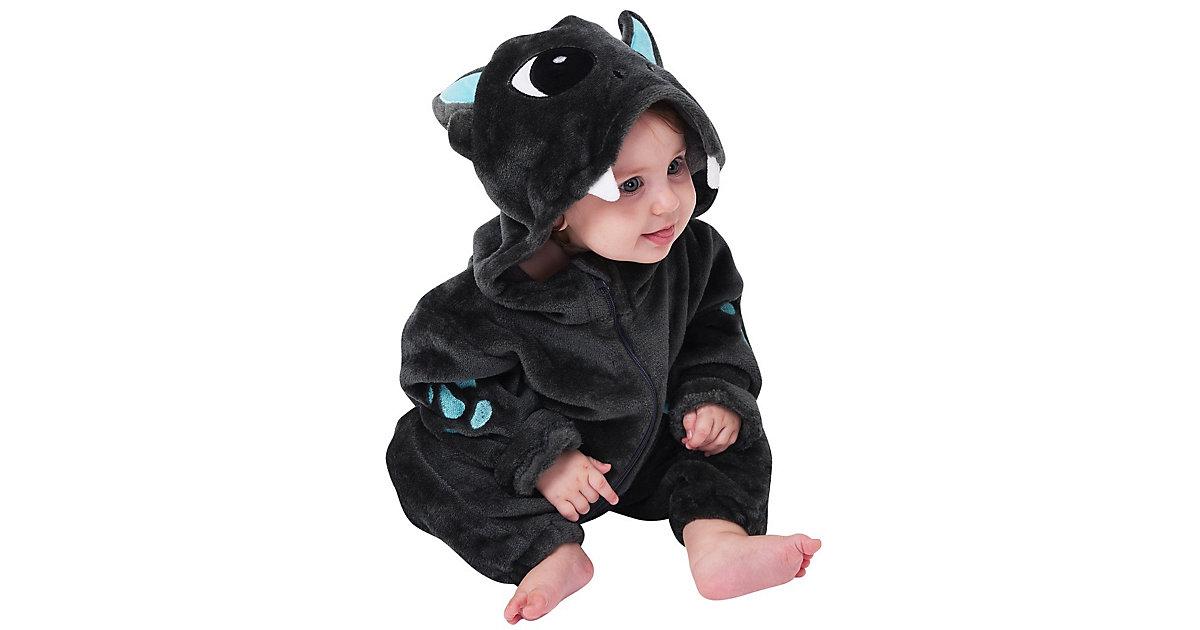 Baby Strampler Kostüm (Einhorn, Drache, Fuchs, Panda, Dino, Pinguin, und mehr) Kinderkostüme anthrazit Gr. 80/86