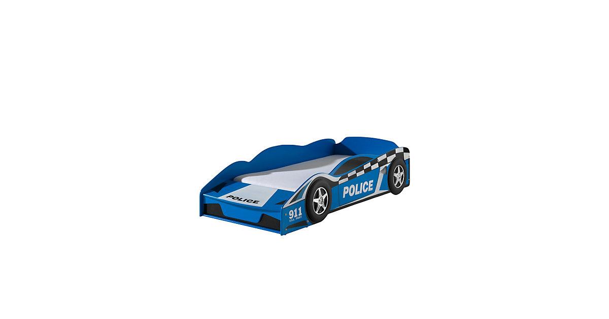 Autobett Carlos Vipack inklusive Lattenrost im Polizei-Design MDF Blau 90x200 blau Gr. 90 x 200