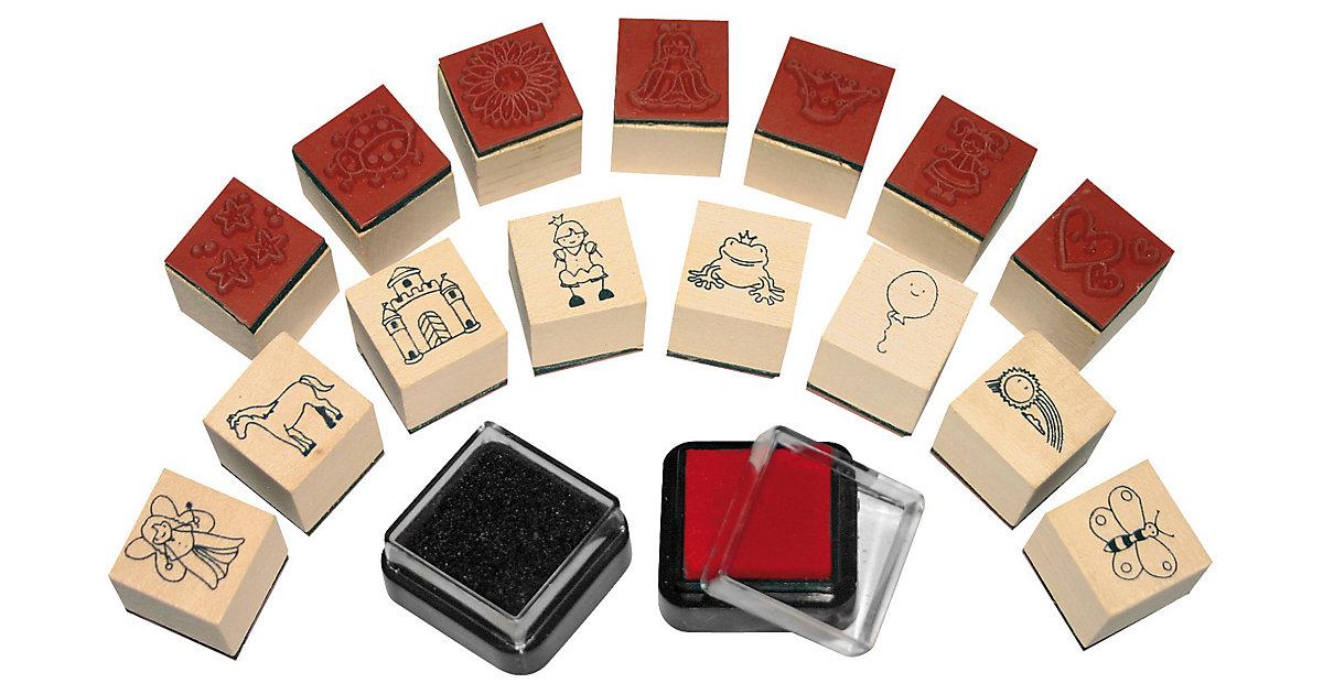 Mini-Holzstempel Mädchen, 15 Stück & 2 Stempelkissen