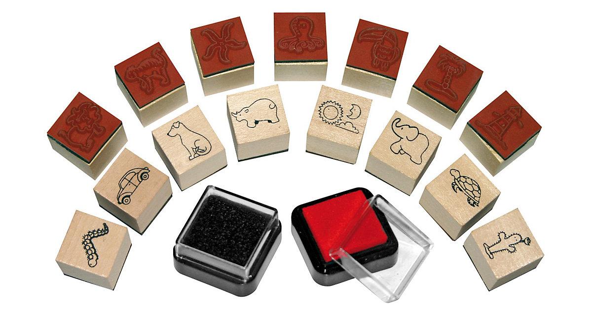 Mini-Holzstempel Fun, 15 Stück & 2 Stempelkissen