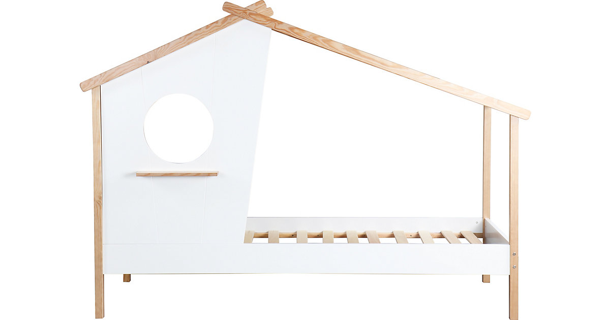 Bett in Form eines Hauses, inkl. Lattenrost, weiß / natur, 104 x 159 x 220 cm braun/weiß Gr. 90 x 200